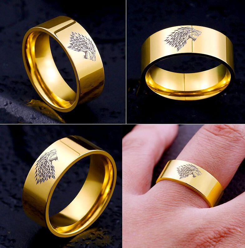 Желтое кольцо с гравировкой